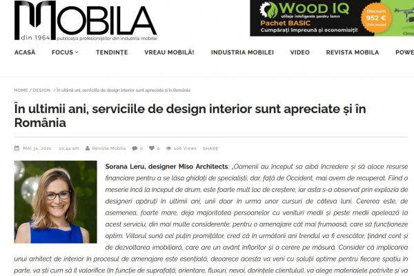 2021.Revista Mobila (serviciile de design in Romania) - mai